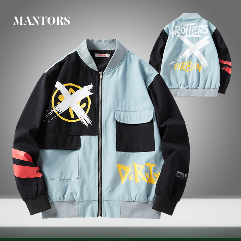 2020 New Trend Men Jackets Casual Printing Splice Zipper Bomber Jacket Male Hip Hop Streetwear Baseball Coat Oversize Harajuku