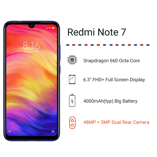 "Global Version Xiaomi Redmi Note 7 4GB 64GB Smartphone Snapdragon 660 Octa Core4000mAh 6.3"" 48MP Dual Camera Mobile Phone 1"