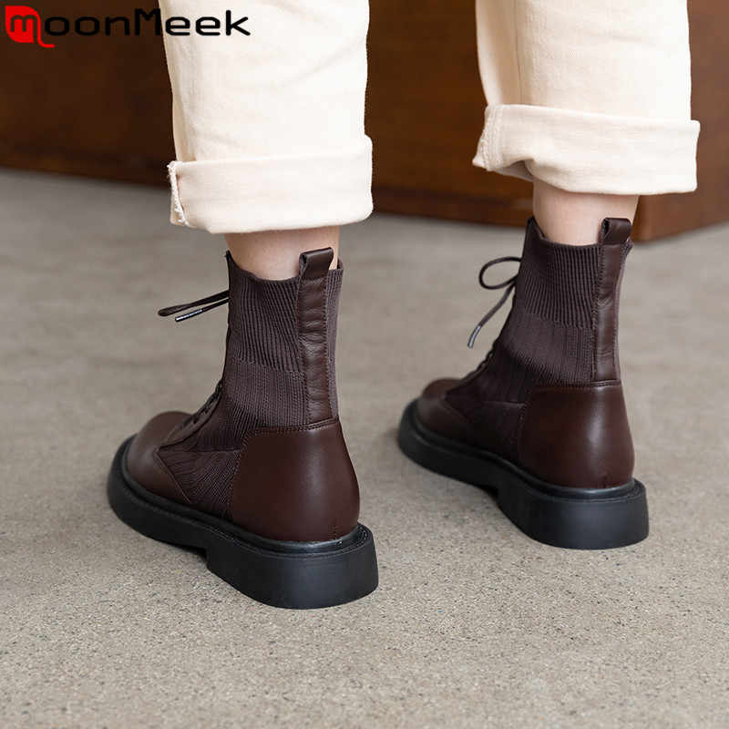 MoonMeek 2020 new Knitted wool+cow leather boots round toe lace up ladies ankle boots low heels ladies autumn winter boots 2020