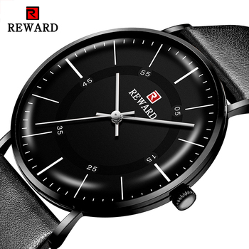 REWARD Classic Black Watches Quartz Movement with Leather Strap Waterproof Thin Case Business Watches Relogio Masculino the hot selling 2018 men s quartz movement classic business style the only designated choice