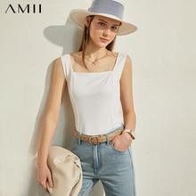 AMII Minimalism Spring Summer Fashion Solid Square Collar Wo