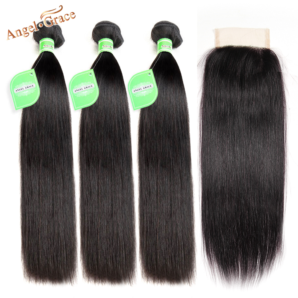 Peruvian Straight Hair 3 Bundles With Closure Angel Grace Human Hair With Closure Remy Hair Extensions Bundles With Lace Closure