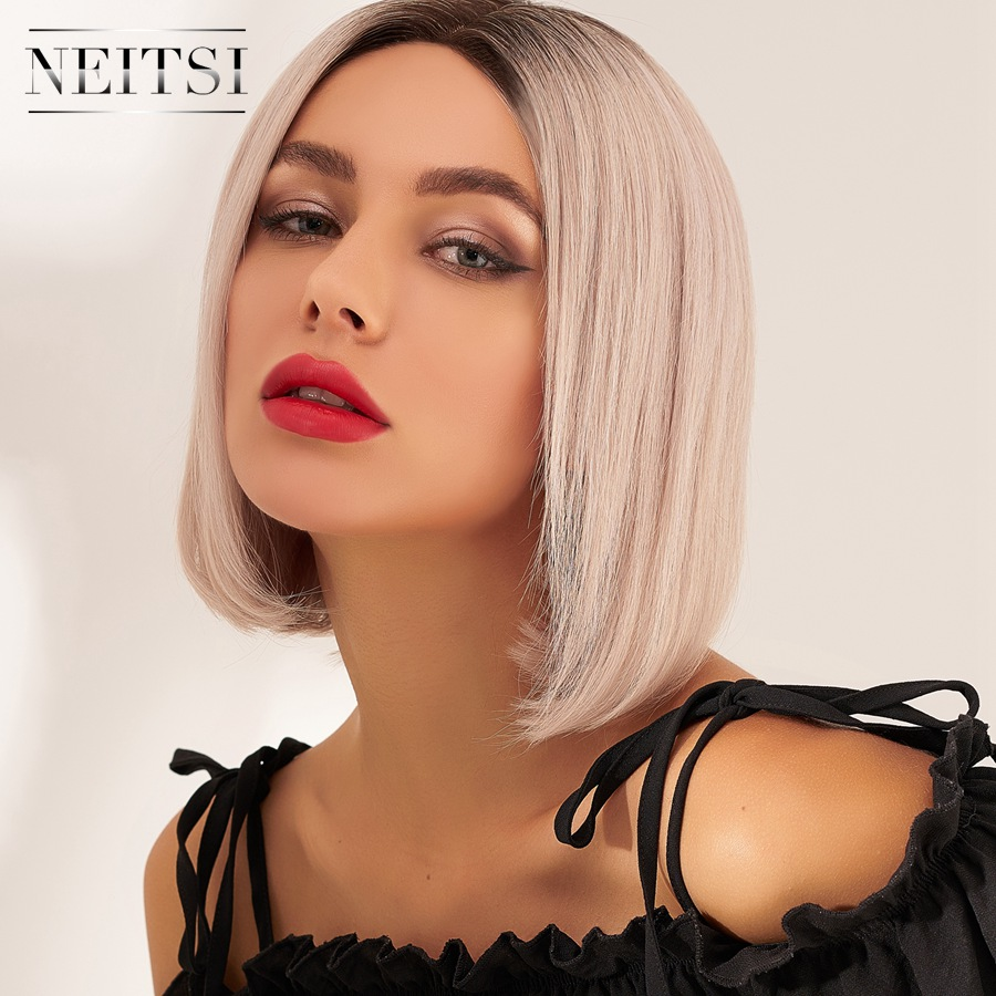 Neitsi Short Remy Human Hair Wig Natural Hairline Handtied Half Lace Bob Wigs 10