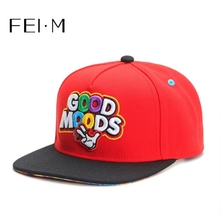 FEI M Fashion GOOD MOODS Adjustable Snapback Cap Red Baseball Cap Outdoor Adult Casual Sports Sun Basketball Hat Bone cheap COTTON Unisex One Size striped Baseball Caps