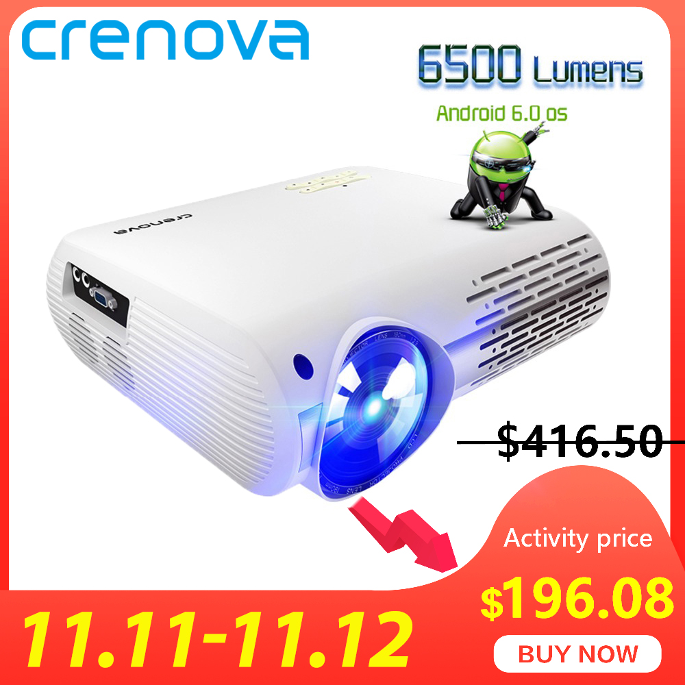 CRENOVA Newest Video Projector For Full HD 4K*2K Home Cinema Projector With 5G WIFI Android 6.0 OS 6500 Lumens Proyector-in LCD Projectors from Consumer Electronics