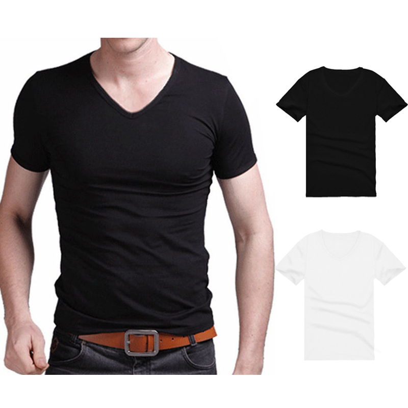 2020 Men Summer White Black Casual Gym Sports V Neck T-shirt Slimming Fit Short Sleeve Basic Tee Male Top
