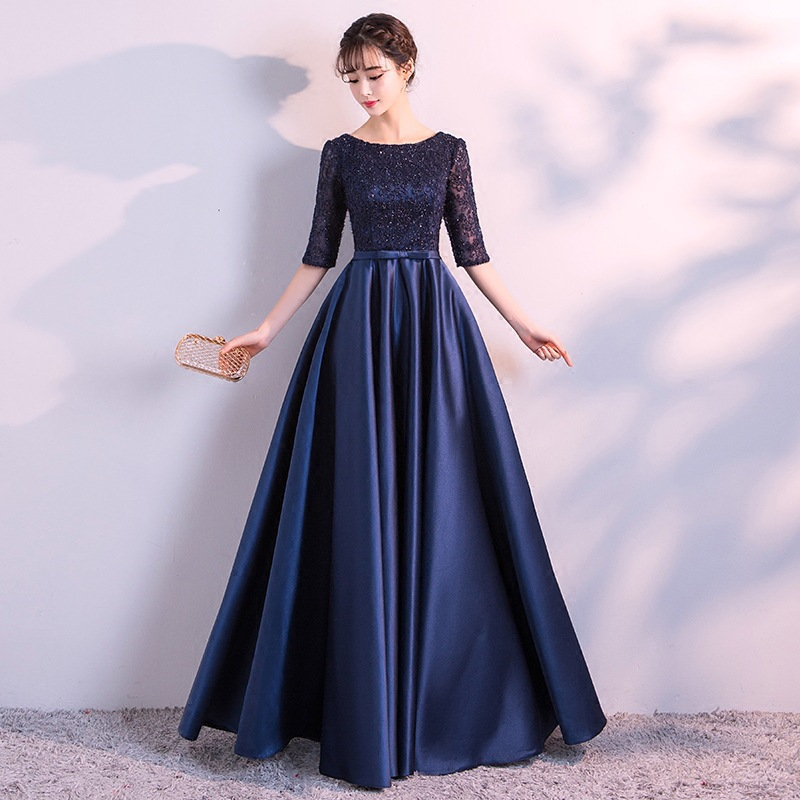 Formal Dress Women's 2019 New Style Autumn & Winter Banquet Party Elegant Long Catwalks Host Half-sleeve Shirt Slimming Late For