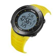 Новинка OHSEN модные цифровые электронные мужские наручные часы с ЖК-дисплеем 50 м водонепроницаемые Желтые Спортивные Военные мужские часы reloj hombre