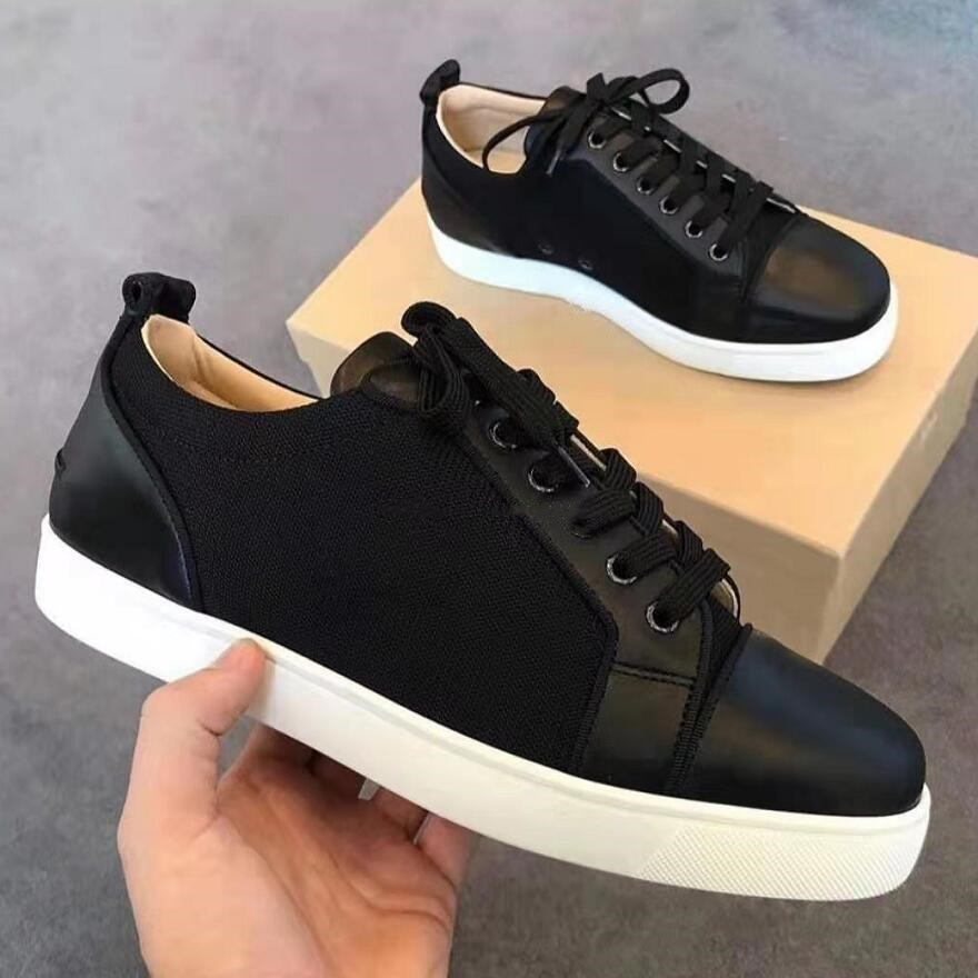 Designer Low Cut Sneakers Leisure Lace Up Black Leather With Mesh None Spikes Red Bottom For Men Womem Shoes Casual Flat Loafers