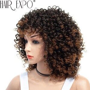 Image 4 - Парики для чернокожих женщин, короткий кудрявый парик 14 дюймов, афро американские парики для чернокожих женщин, коричневые смешанные светлые синтетические термостойкие парики с челкой