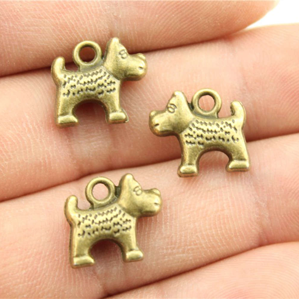 WYSIWYG 10 шт. Талисманы собака античный бронзовый цвет сплав DIY ювелирных изделий аксессуары 14x12 мм