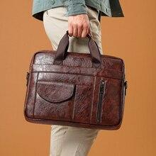BK 14 Inch Laptop Bag Top PU Leather File Messenger Bags Casual Men's Briefcase Handbag Office Business Shoulder Bag Tote Bag