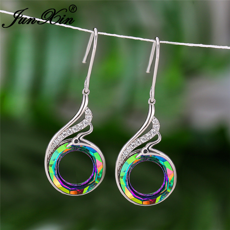 Gradient Rainbow Fire Crystal Earring Cute Animal Phoenix Drop Earrings For Women Wedding Dangle Earrings Zircon Jewelry