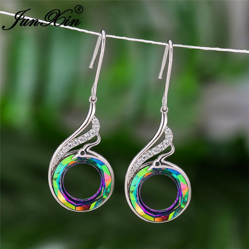 Gradient Rainbow Fire Crystal Earring Cute Animal Phoenix Drop Earrings For Women Wedding Dangle Earrings Zircon Jewelry