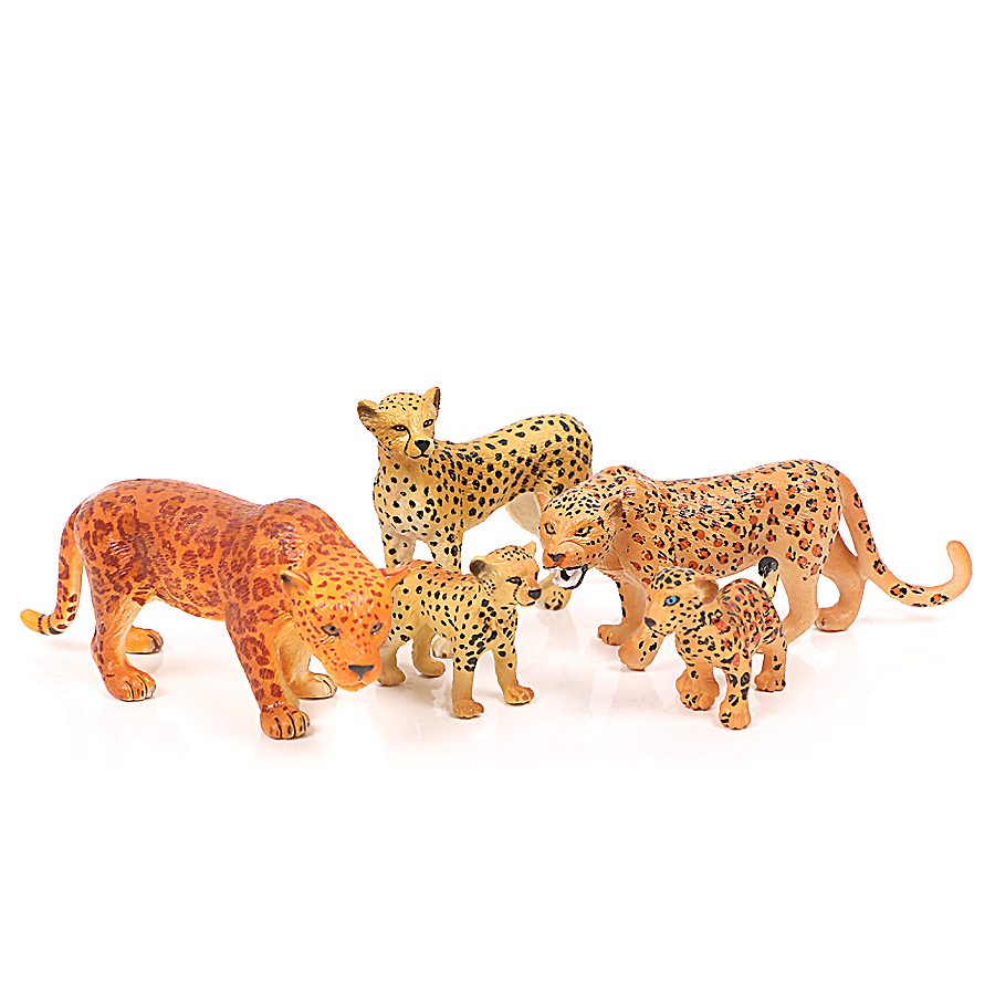 Safari Animals Model toys North America Jaguar African Cheetah Action Figures ,Cheetah Family – Zoo Animals Educational Toys image