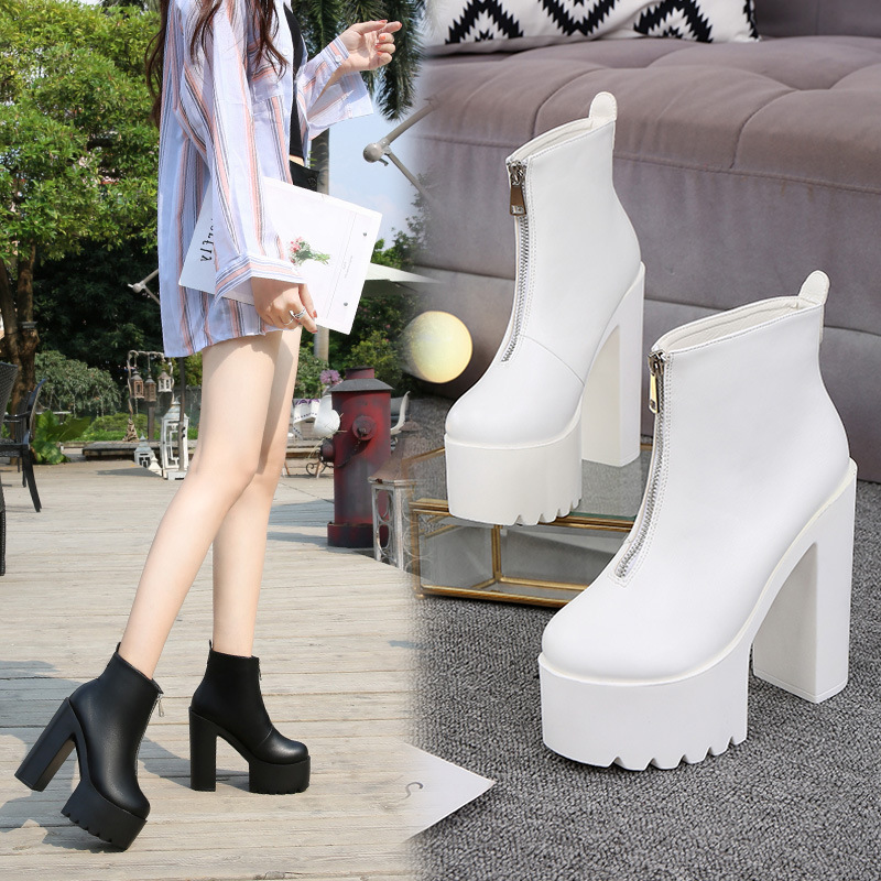 Europe and America Sexy Super High-Heel Short Boots Waterproof Platform Womens Ankle Boots Model Catwalk Thick with Martin Boots