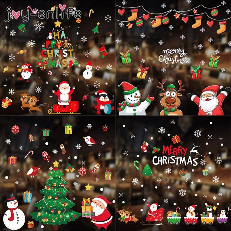 2020 frohe Weihnachten Wand Aufkleber Fenster Glas Festival Wand Abziehbilder Santa Wandmalereien Neue Jahr Weihnachten Dekorationen für Wohnkultur