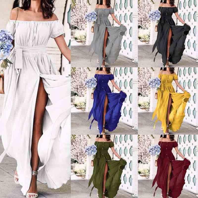Plus Kích Thước Mùa Hè Sundress Celmia 2020 Phụ Nữ Xù Đầm Maxi Dài Gợi Cảm Lệch Vai Nữ Tay Ngắn Nút Đảng Vestidos Mujer