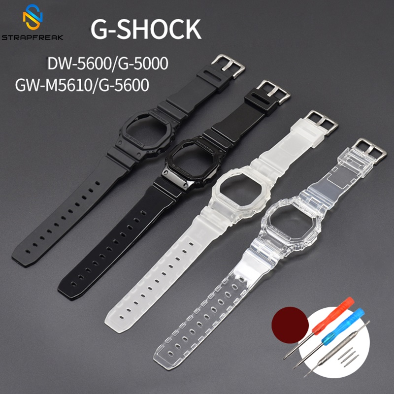 Rubber Watc Case for Casio G-Shock <font><b>DW</b></font>-<font><b>5600</b></font> GW-M5610 G-<font><b>5600</b></font> G-5000 Replacement Transparent Watchband Bracelet <font><b>Strap</b></font> Accessories image