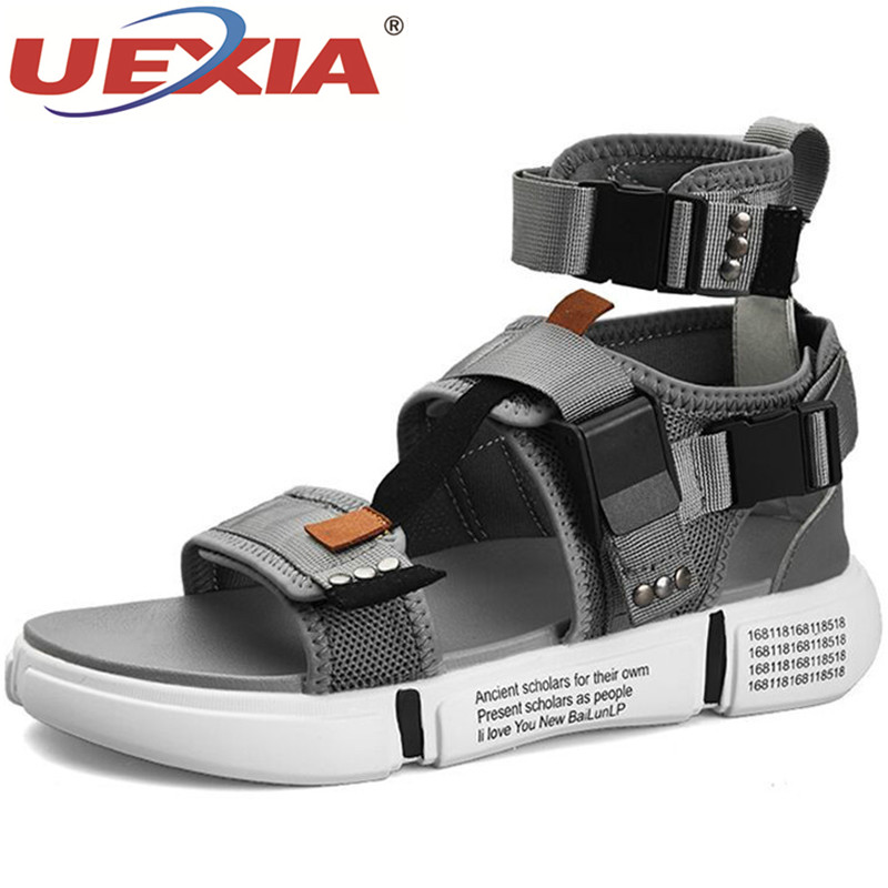 UEXIA 2019 New Fashion Summer Mens Shoes Gladiator Sandals Open Toe Platform Beach Sandals Boots Rome Style Canvas Men Sandals