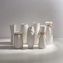 Ceramiczne wazony Nordic doniczka Vintage minimalistyczny Design stół biurowy wazony białe rustykalne Dekoracje Do Domu Home Decor DE50HP
