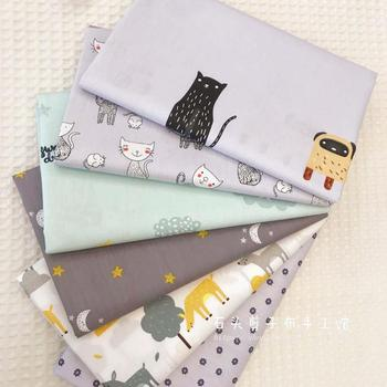 1.6 M Wide Cat And Deer Ab Cartoon Pure Cotton Fabric Baby Bedding Three-piece Set Tablecloth Fabric image