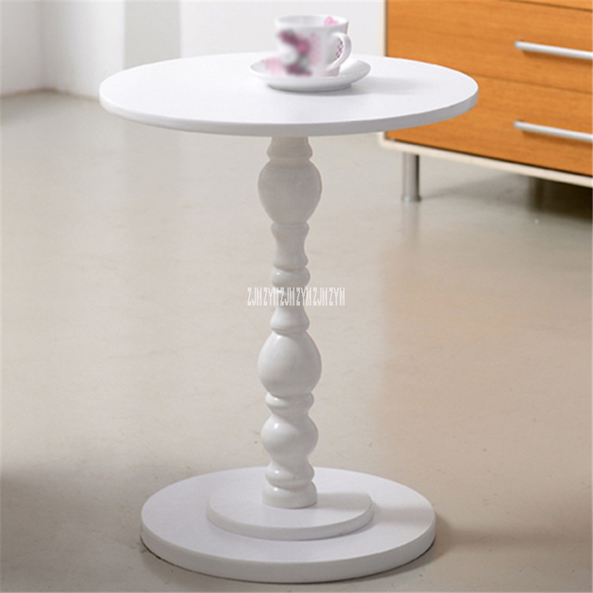 BS270 European Style Small Round MDF Solid Wood Tea Table Creative Sofa Side Table Living Room Balcony Storage Coffee Table