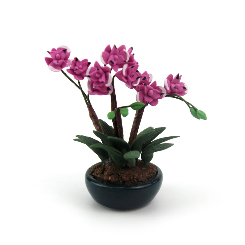 1/12 Dollhouse Miniature Accessories Mini Phalaenopsis Potted Plant Simulation Flower Model Toy For Doll House Decoration Ob11