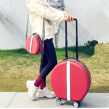 Women Rolling Suitcase with Cosmetic case,Round ABS+PC Travel Luggage Bag ,Universal wheel trip Trolley Box and Handbag 8pcs shower room bathroom glass door swing round pulley roller wheel circular shower wheel rolling wheel