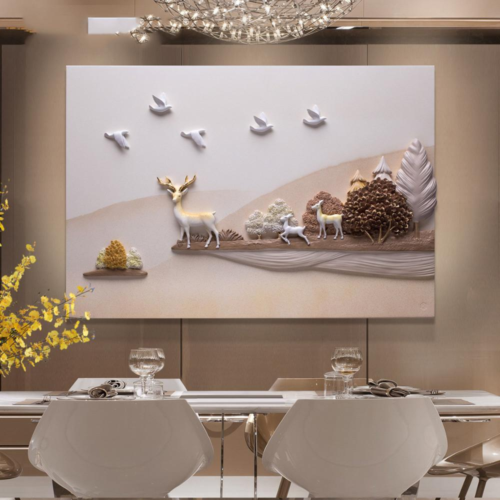 Moderne Reliëf 3D Hars Vogel Herten Landschap Muursticker Muurschildering Decoratie Ambachten Thuis Kamer Muur TV Achtergrond Schilderij Ornament