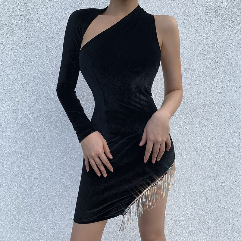 Black Sexy Latin Dance Dress For Sale Dance Clothing Salsa Dress Dance Clothes Jazz Dance Costumes Women Dance Wear Velvet