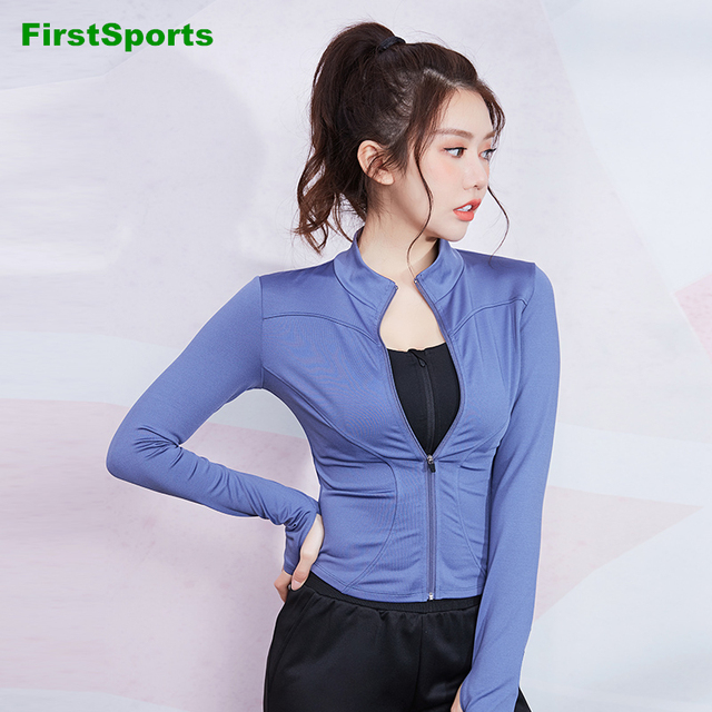 New Women's Sports Shirts Yoga Running Jackets Zipper Slim Outline Gym Cropped Tops Stand Collar Fitness Workout Sweatshirts