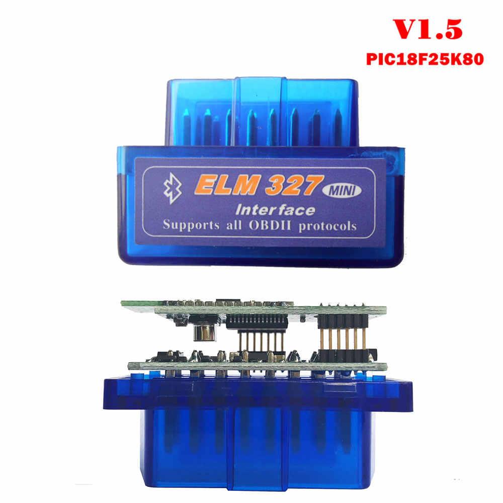 V1.5 Super MINI ELM327 بلوتوث الدردار 327 الإصدار 1.5 مع PIC18F25K80 رقاقة OBD2 / OBDII لنظام أندرويد عزم دوران رمز السيارة الماسح الضوئي