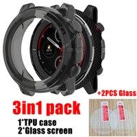 Funda 3 en 1 para huami Amazfit Stratos 3 A1928, accesorios para reloj inteligente, funda de TPU suave + Protector de pantalla de vidrio