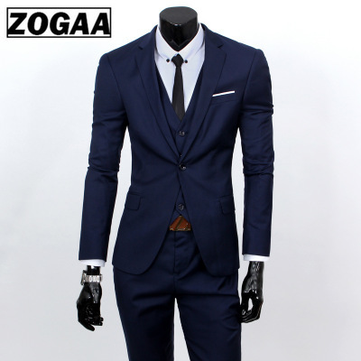 ZOGAA Men Dress Suits 5XL 4XL 2019 Business Slim Fit Wedding Groom SuitS Pure Color 3 Piece Of Suits Plus Size Men Leisure Suits
