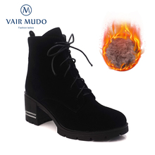 VAIR MUDO Fashion Women Ankle Boots Shoes  Warm Wool High Heel Platform Boots Lace Up Ladies Worker Boots Black Shoes DX41