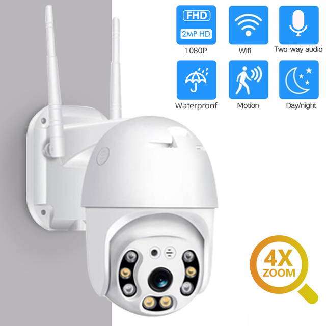 1080P Security Camera WIFI Outdoor PTZ Speed Dome Wireless IP Camera CCTV Pan Tilt 4XZoom IR Network Surveillance P2P CAM