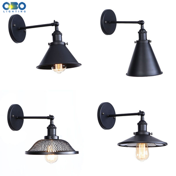 Vintage Wall Lamp Iron Black Lampshade E27 LED Bulb For Living Room Study/Bedroom/Bedside Bathroom Indoor Wall Light Retro bedroom light study wall lamp iron long arm rocker wall lamp bedside light industrial style adjustable wall light bathroom