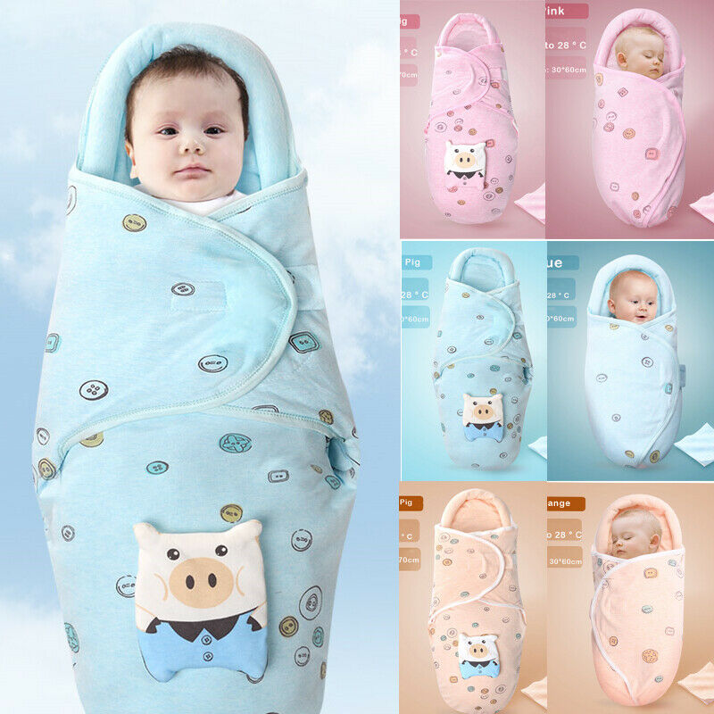 Newborn Baby Sleeping Bag Warm 2 Layer Thicken Infant Cute Cartoon Pig Toddler Swaddle Wrap Soft Blanket Protective 2-6M