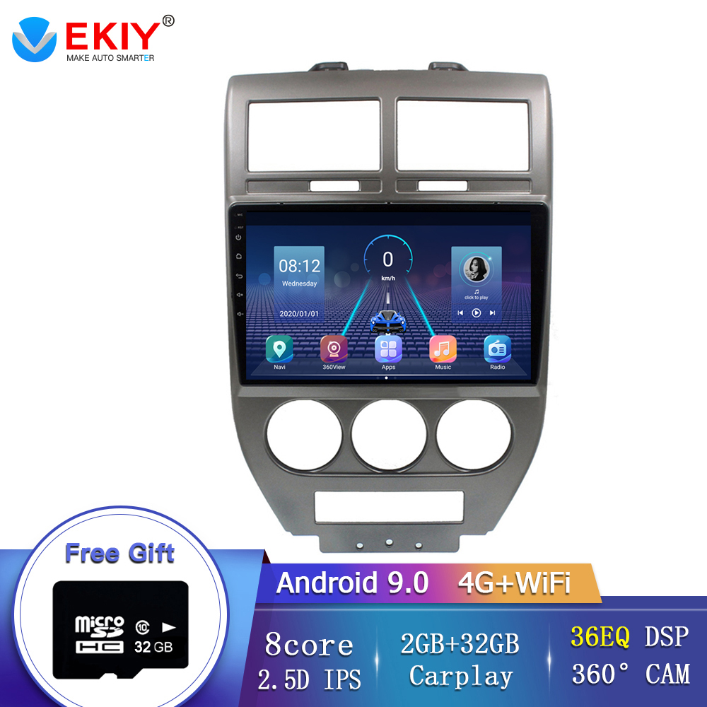 Автомобильный мультимедийный плеер EKIY, 8 ядер, радио, видео плеер, навигация, GPS, для Jeep Compass 2007, 2008, 2009, Android 9,0, стерео DVD, BT, 4G, Wi-Fi
