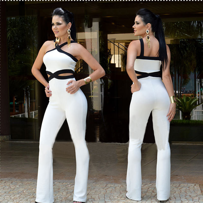 Sexy Jumpsuit Hollow Out Black White Contrast Color Strap Bodycon Women Fashion Clubwear Tight Female Date Out Playsuits Rompers