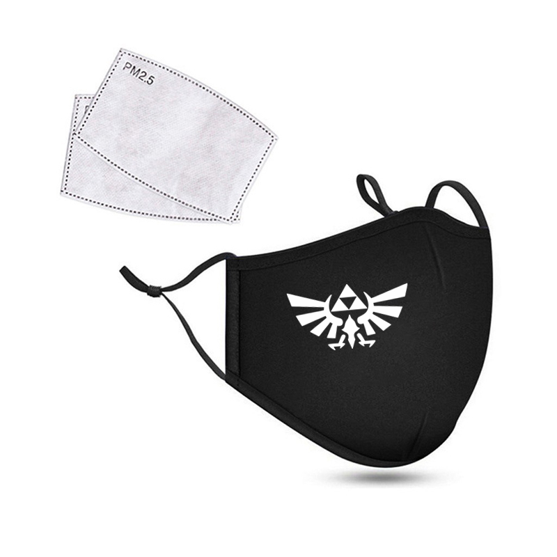 The Legend Of Zelda Reusable Washable Breathable Face Mask Cycling Facemask Anti Dust Windproof Air Purifying Face Mask+2 Filter