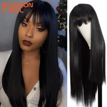 Parrucche sintetiche per capelli finti lunghi dritti da 32 pollici IDOL di moda per donne nere parrucca Cosplay con frangia in fibra resistente al calore bionda Ombre