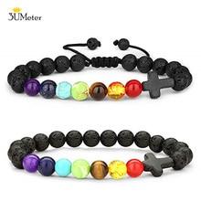 Fashion Chakra Bracelets 8mm Lava Stone White Howlite Bracelet Religion Cross Natural Yoga Beads Bangle Jewelry