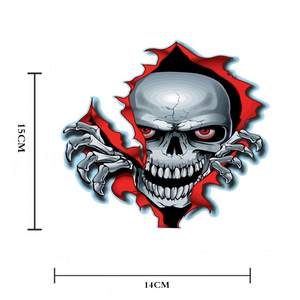 Image 2 - 1PC Red Eyed Skull Computer Stickers PET Vinyl Laptop Skin Sticker Moto Car Suitcase Decoration Decal for MacBook Air 11 13