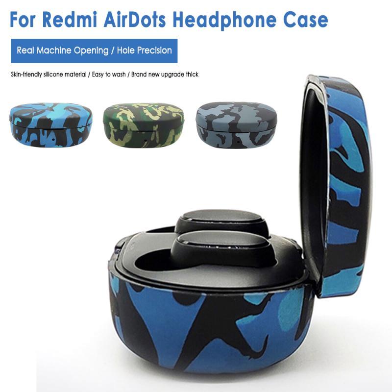 Мягкий силиконовый чехол для Xiaomi Redmi Airdots, bluetooth гарнитура, защитный чехол, камуфляжный защитный чехол для Redmi Airdot Аксессуары для наушников      АлиЭкспресс
