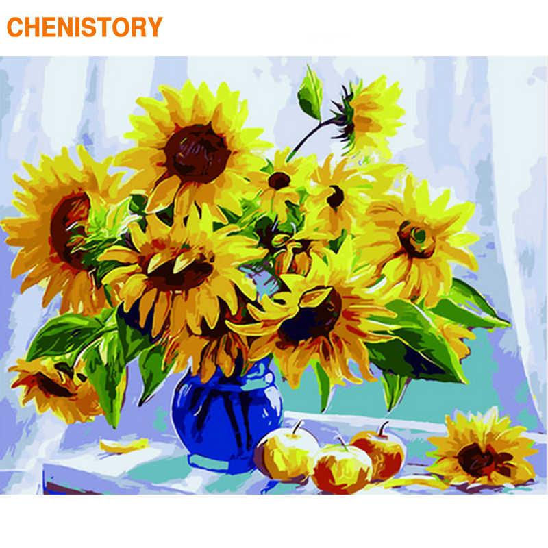 CHENISTORY çerçevesiz resim sayılar tarafından Diy boyama ayçiçekleri çiçek duvar sanat resmi numarası kaligrafi ve boyama