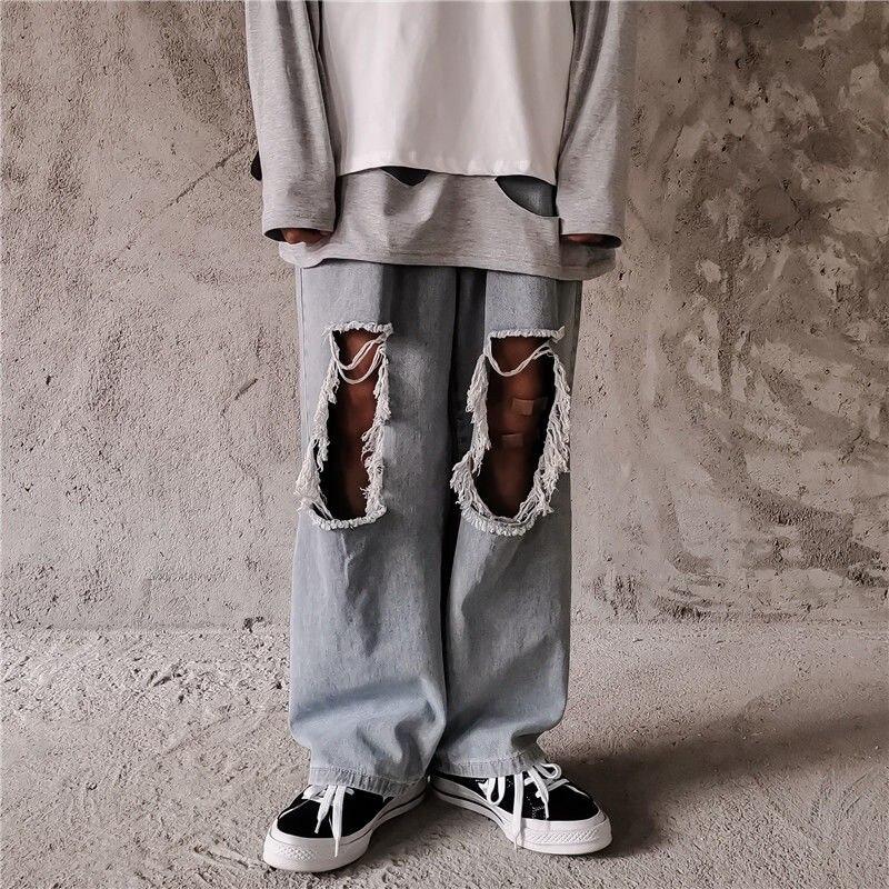 NiceMix Ripped Hole Hollow Knee Fashion Vintage Loose Straight Punk Denim Pant Women Man Korean Harajuku Hip Hop Streetwear Wide