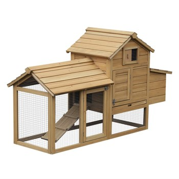 Compact outdoor chicken coop for 2 hens with window ramp and easy cleaning tray 150.5x54x87 cm Wood