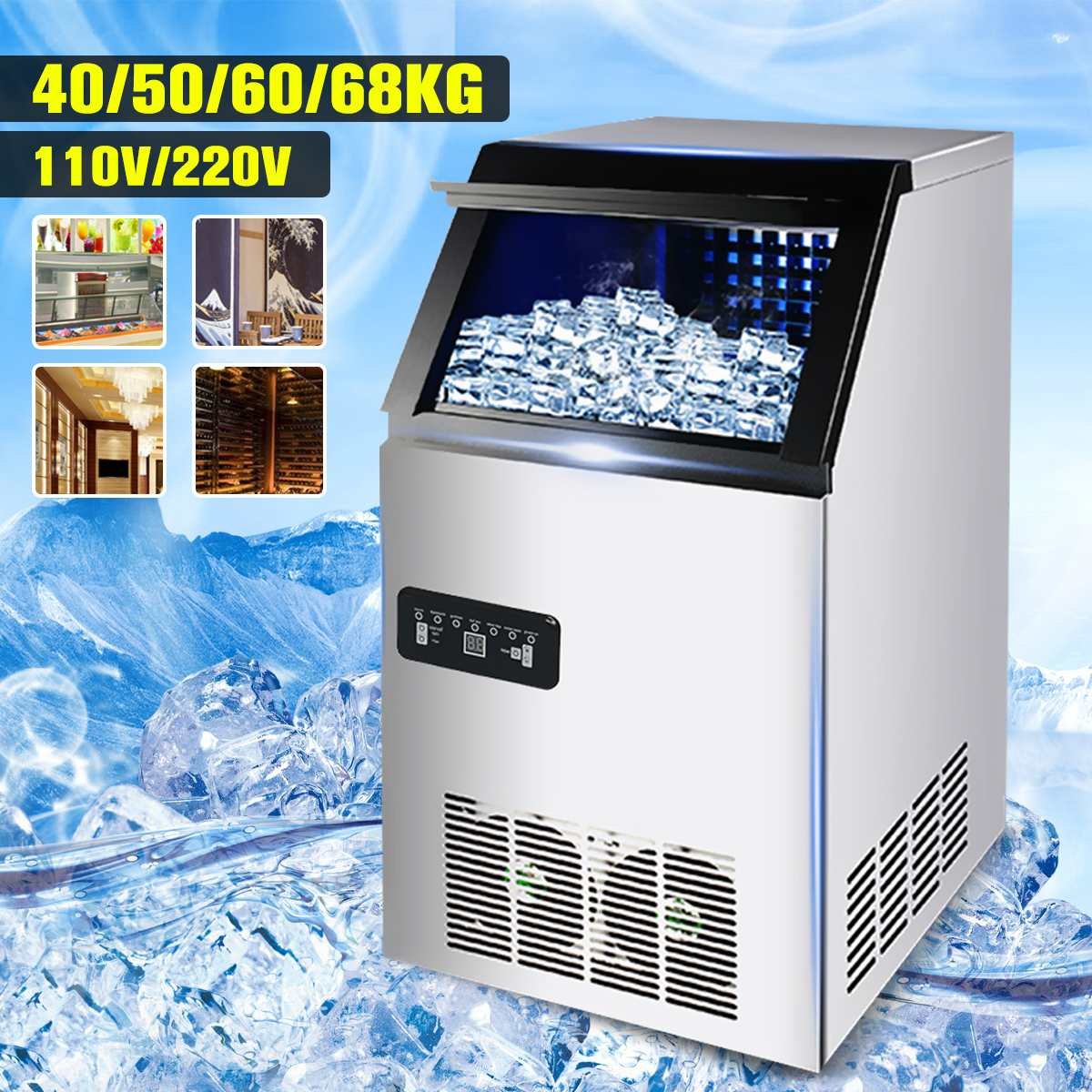 50kg /60kg/68kg 110V/220V Electric Automatic Cube Ice Maker Bar Coffee Shop Commercial Or Home Use Ice Making Machine Ice Maker